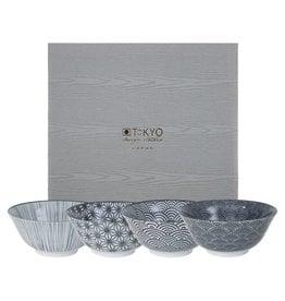 Tokyo Design Studio Tokyo Design Studio New Nippon Black Set van 4 Kommen Ø 15,2 cm