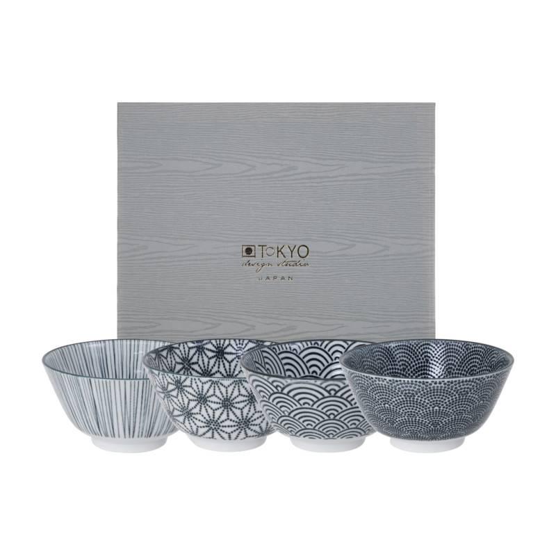 Tokyo Design Studio Tokyo Design Studio New Nippon Black Set van 4 Kommen Ø 12 cm in fraaie Geschenkdoos