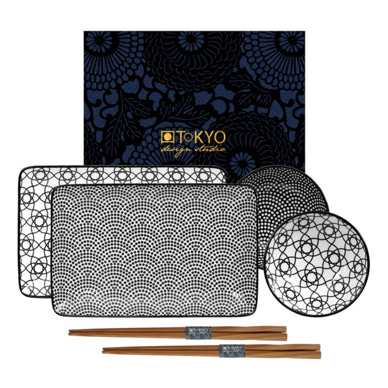 Tokyo Design Studio Servies.Tokyo Design Studio Nippon Blue Sushi Servies Set 6 Delig 2 Persoons