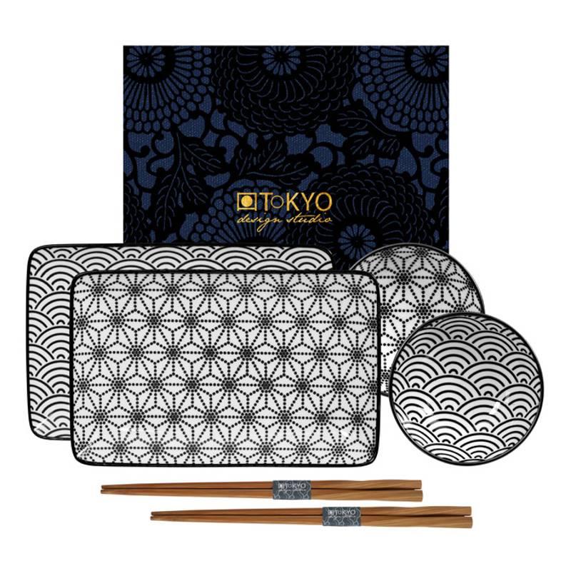 Tokyo Design Studio Coffret Service à Sushi New Nippon Black de Tokyo Design Studio – 6-pièces