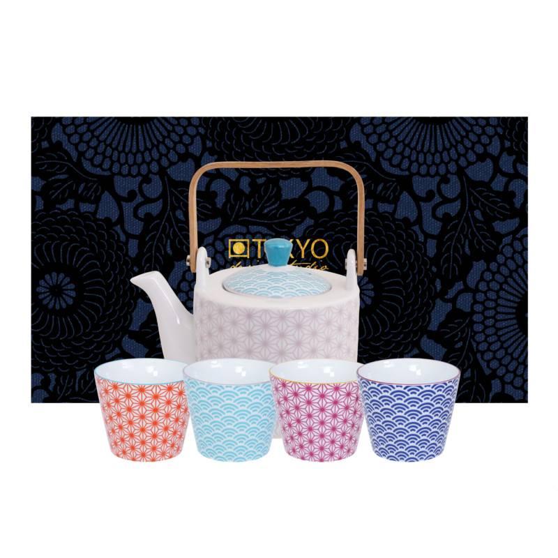 Tokyo Design Studio Tokyo Design Studio Star Wave Theepot 0,8 Liter inclusief 4 Kopjes 180 ml