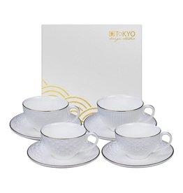 Tokyo Design Studio Coffret de 4 Paires des Tasses à Café 180 ml avec Soucoupes assorties