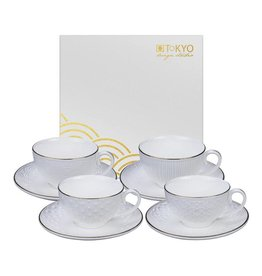 Tokyo Design Studio Tokyo Design Studio Nippon White Set of 4 Coffee Cups and matching Saucers