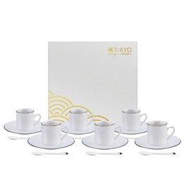 Tokyo Design Studio Coffret de 6 Paires des Tasses à Expresso 80 ml avec Soucoupes et cuillières assorties
