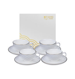 Tokyo Design Studio Tokyo Design Studio Nippon White Set of 4 Espresso Cups and matching Saucers