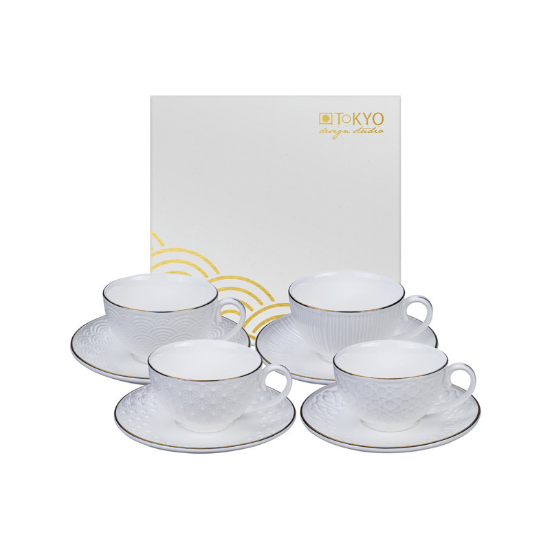 Tokyo Design Studio Tokyo Design Studio Nippon White Set van 4 Espresso Kopjes en Schotels - in fraaie Geschenkdoos