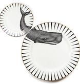 Yvonne Ellen Yvonne Ellen London Monochrome 2-er Set - 1 Teller Ø 26,5 cm und 1 Teller Ø 16 cm - Wal Motiv - Bone China Porzellan - In schöner Geschenkverpackung
