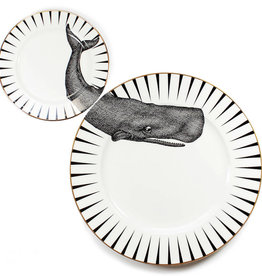 Yvonne Ellen London Monochrome Set van 1 Diner Bord Ø 26,5 cm en 1 Salade Bord Ø 16 cm - Walvis - Porselein