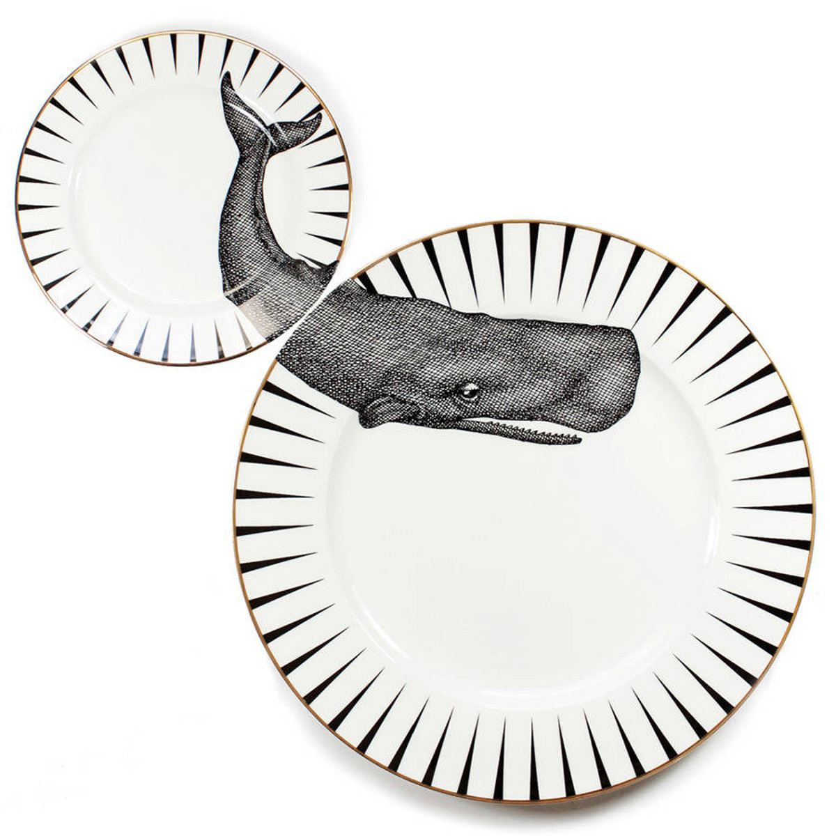 Yvonne Ellen London Monochrome Set de 1 Assiette Ø 26,5 cm et 1 Assiette Ø 16 cm - Baleine - Bone China Porcelaine - Boîte Cadeau