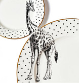 Yvonne Ellen London Monochrome 2-er Set - 1 Teller Ø 26,5 cm und 1 Teller Ø 16 cm - Giraffe Motiv - Bone China Porzellan - In schöner Geschenkverpackung