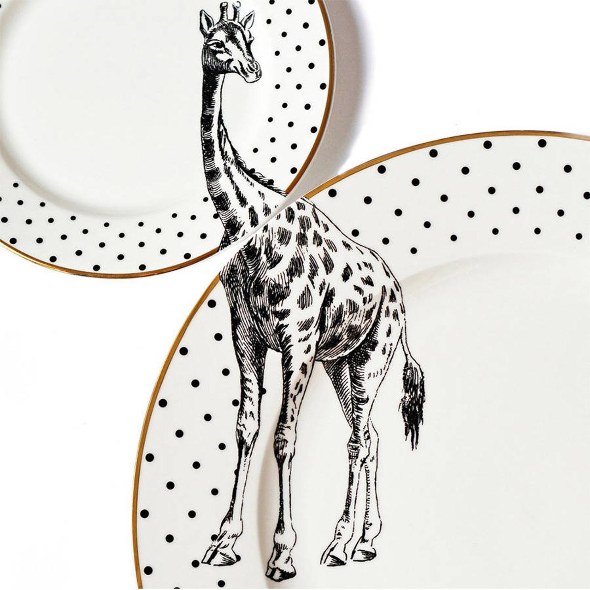 Yvonne Ellen London Monochrome Set de 1 Assiette Ø 26,5 cm et 1 Assiette Ø 16 cm - Girafe - Bone China Porcelaine - Boîte Cadeau