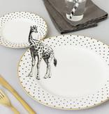 Yvonne Ellen London Monochrome Set van 1 Diner Bord Ø 26,5 cm en 1 Salade Bord Ø 16 cm - Giraffe Print - Bone China Porselein - In prachtige Geschenkdoos