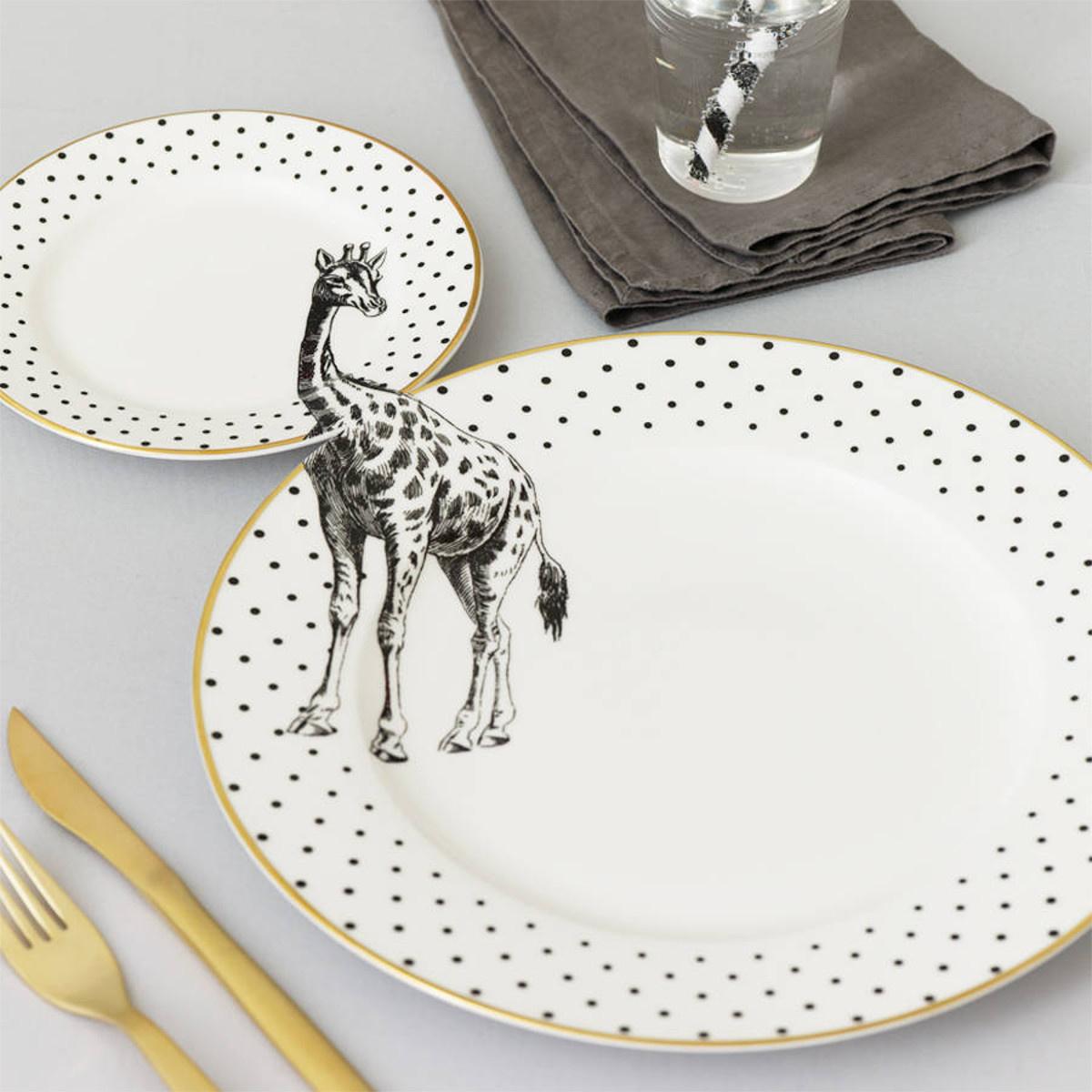 Yvonne Ellen Yvonne Ellen London Monochrome Set van 1 Diner Bord Ø 26,5 cm en 1 Salade Bord Ø 16 cm - Giraffe Print - Bone China Porselein - In prachtige Geschenkdoos