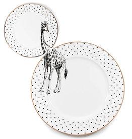 Yvonne Ellen London Monochrome Set of1 Dinner Plate Ø 26,5 cm and 1 Side Plate Ø 16 cm - Giraffe - Bone China