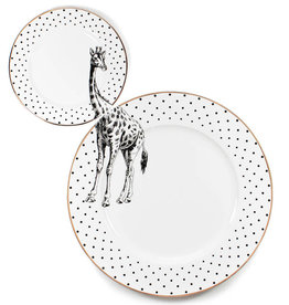 Yvonne Ellen London Monochrome Set van 1 Diner Bord Ø 26,5 cm en 1 Salade Bord Ø 16 cm - Giraffe - Porselein