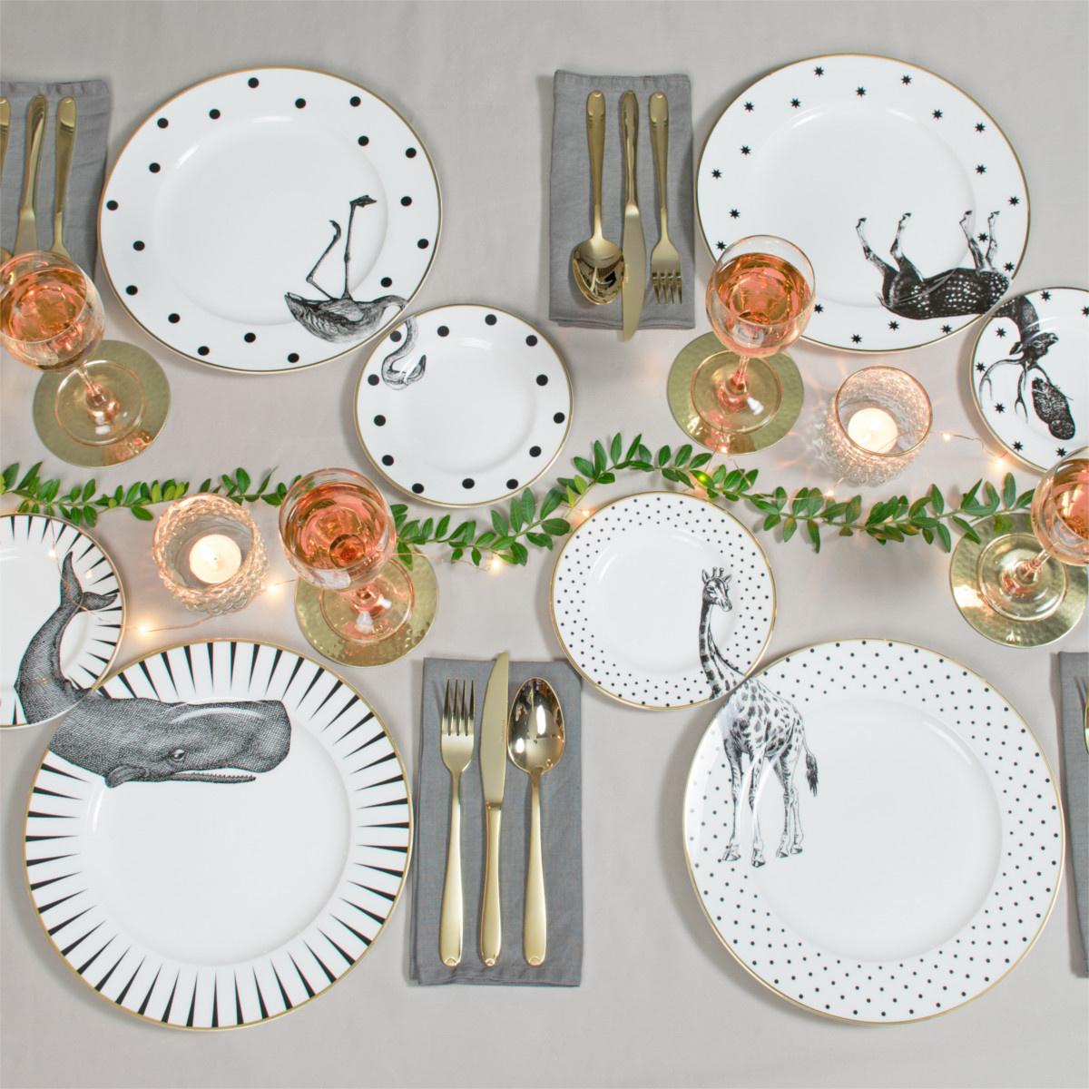 Yvonne Ellen London Monochrome Set of1 Dinner Plate Ø 26,5 cm and 1 Side Plate Ø 16 cm - Giraffe - Bone China - In Beautiful Giftbox