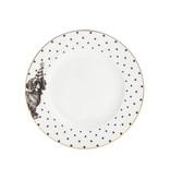 Yvonne Ellen London Monochrome 4-er Set Teller Ø 16 cm - 4 Tieren Motive - Bone China Porzellan - In schöner Geschenkverpackung