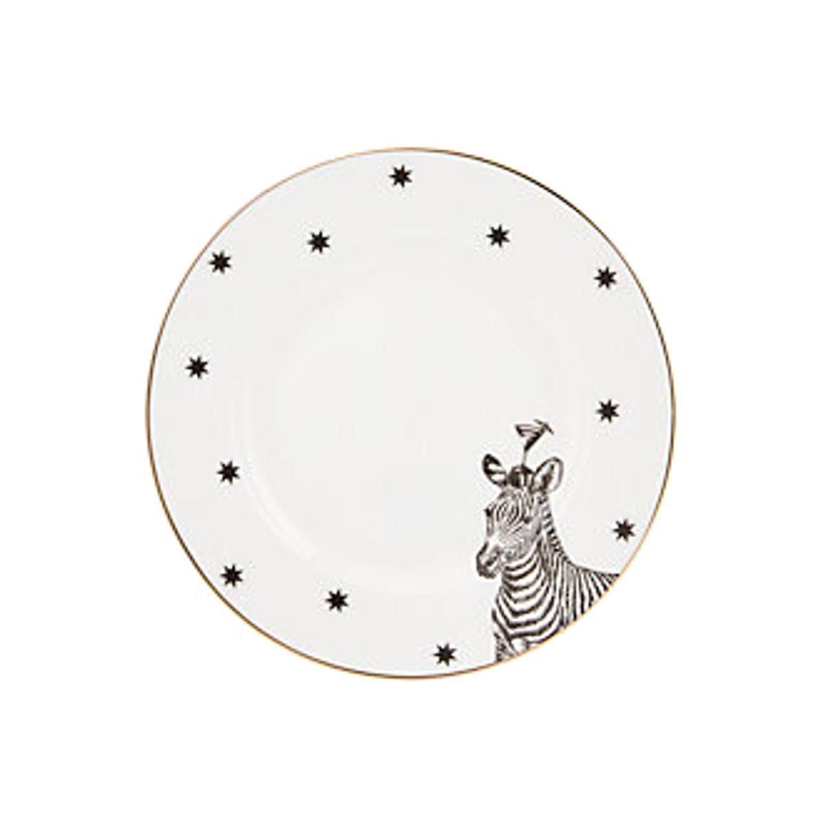 Yvonne Ellen London Monochrome Set de 4 Assiettes Ø 16 cm - 4 Animaux - Bone China Porcelaine - Boîte Cadeau