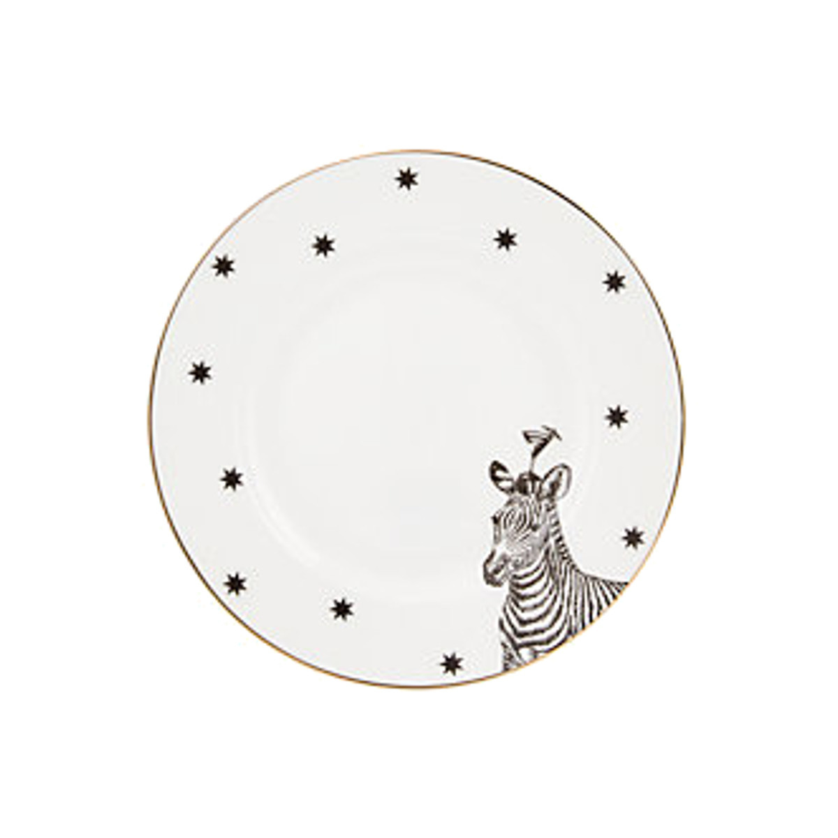 Yvonne Ellen London Monochrome Set van 4  Bordjes Ø 16 cm - Diverse Dieren - Bone China Porselein - In prachtige Geschenkdoos