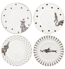 Yvonne Ellen London Monochrome Set de 4 Assiettes Ø 16 cm - 4 Animaux - Porcelaine