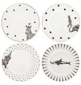 Yvonne Ellen Yvonne Ellen London Monochrome Set of 4 Plates Ø 16 cm - Animal Prints - Bone China