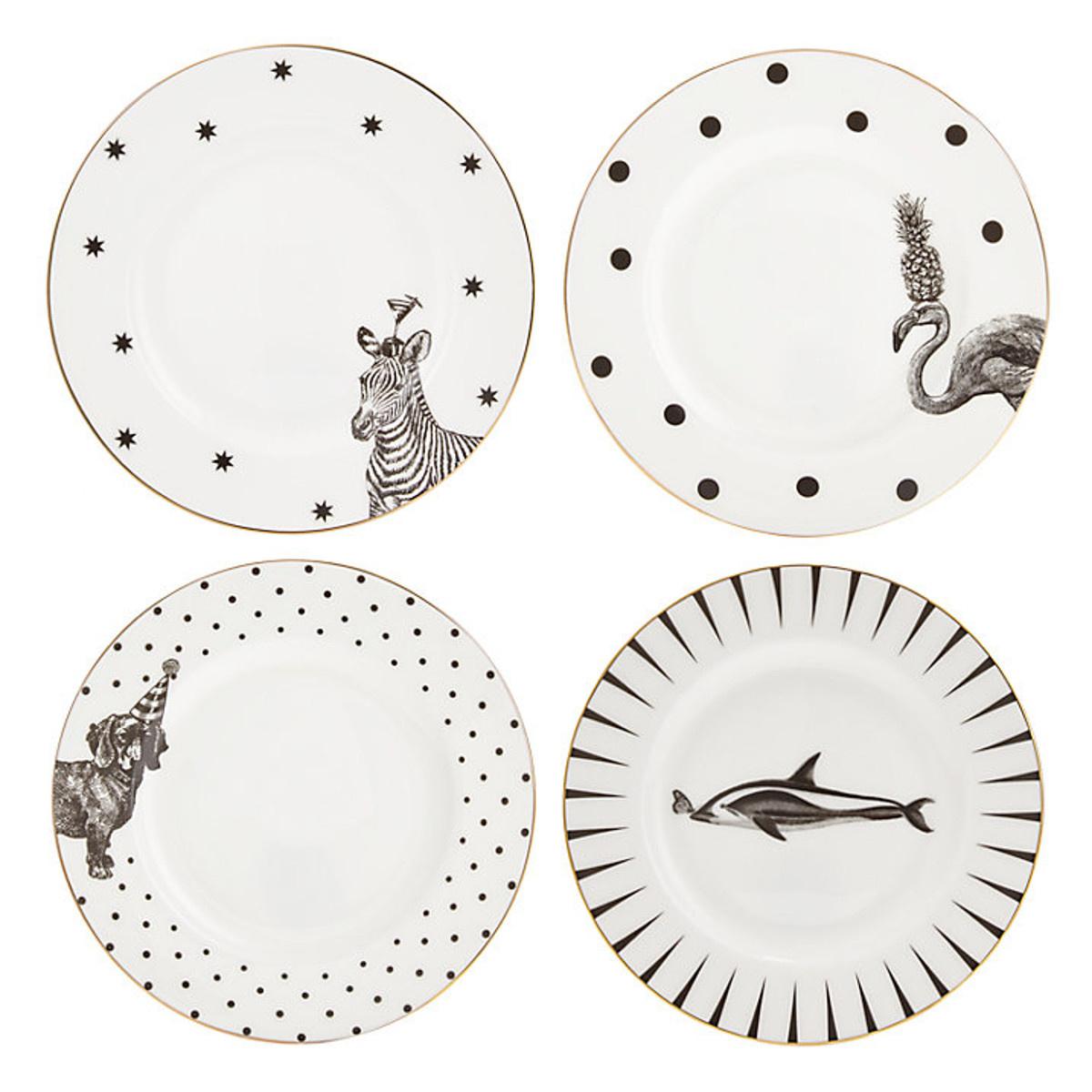 Yvonne Ellen Yvonne Ellen London Monochrome Set de 4 Assiettes Ø 16 cm - 4 Animaux - Bone China Porcelaine - Boîte Cadeau