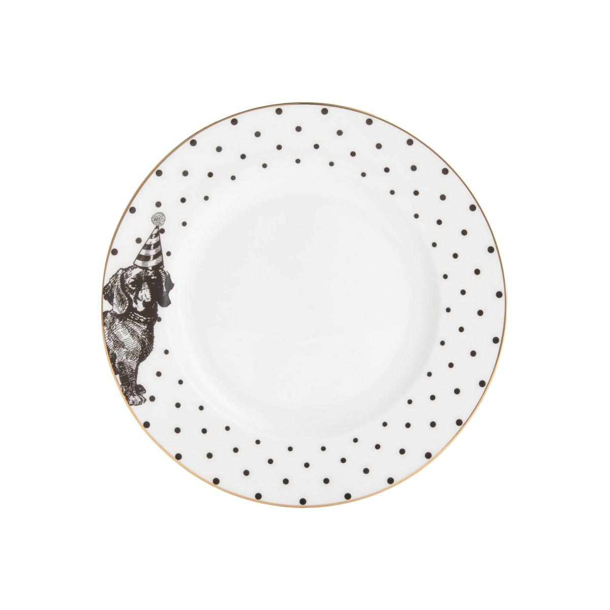 Yvonne Ellen London Monochrome Set van 2 Borden Ø 16 cm - Teckel - Bone China Porselein