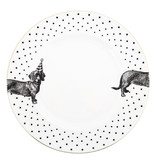 Yvonne Ellen Yvonne Ellen London Monochrome 2-er Set Teller Ø 26,5 cm - Dachshund Motiv - Bone China Porzellan