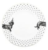 Yvonne Ellen Yvonne Ellen London Monochrome Set van 2 Diner borden Ø 26,5 cm -Teckel Print - Bone China Porselein