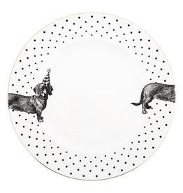 Yvonne Ellen London Monochrome Set van 2 Diner borden Ø 26,5 cm -Teckel - Porselein