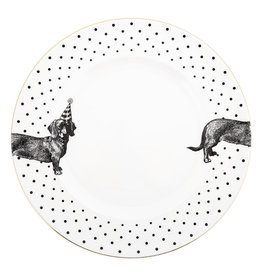 Yvonne Ellen Yvonne Ellen London Monochrome Set of 2 Dinner Plates Ø 26,5 cm -Sausage Dog - Bone China