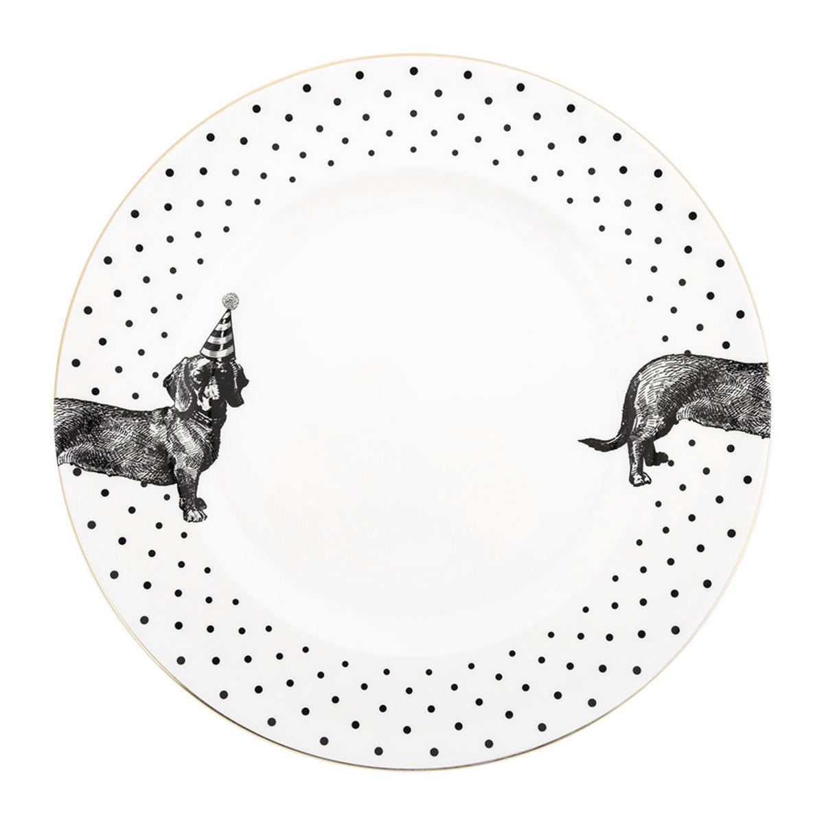 Yvonne Ellen Yvonne Ellen London Monochrome Set of 2 Dinner Plates Ø 26,5 cm -Sausage Dog - Bone China