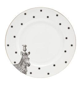 Yvonne Ellen London Monochrome Set van 2 Diner borden Ø 26,5 cm - Zebra - Porselein