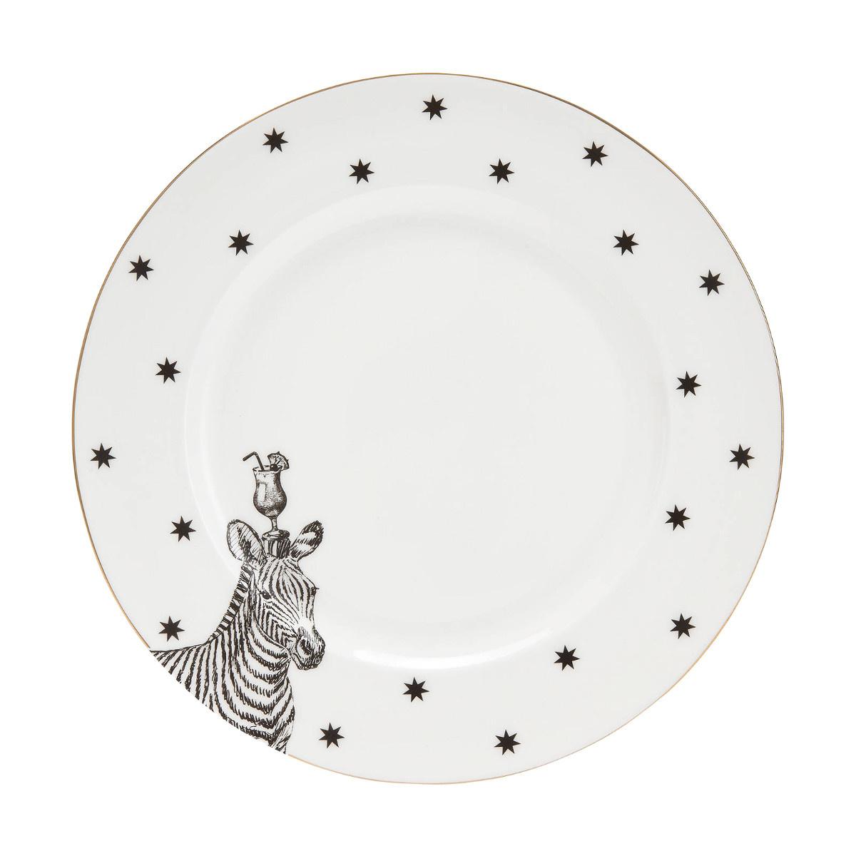 Yvonne Ellen Yvonne Ellen London Monochrome Set van 2 Diner borden Ø 26,5 cm - Zebra Print - Bone China Porselein
