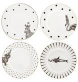 Yvonne Ellen London Monochrome Set de 2 Assiette Ø 16 cm - Zèbre - Bone China Porcelaine