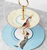 Yvonne Ellen London Yvonne Ellen Carnival Animal 2-laagse Etagère Ø 22 cm - Pinguïn en Giraffe Print - Bone China Porselein - In Fraaie Geschenkdoos