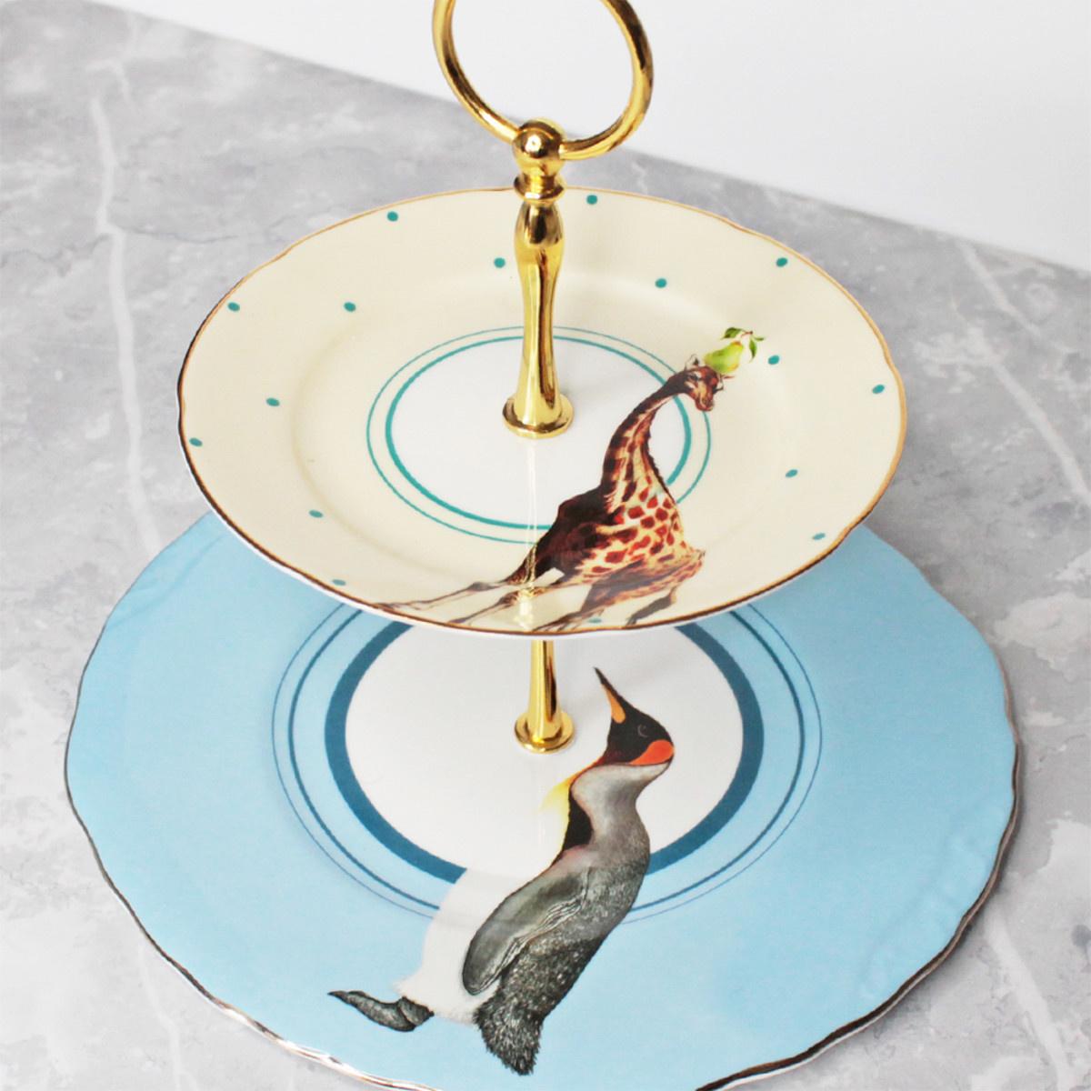 Yvonne Ellen London Yvonne Ellen London Carnival Animal Présentoir â Gateaux - 2 étages - Bone China Porcelaine