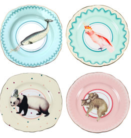 Yvonne Ellen London Yvonne Ellen Carnival Animal Set van 4 Borden Ø 16 cm - Diverse Dieren Prints - Bone China Porselein