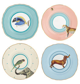 Yvonne Ellen London Yvonne Ellen Carnival Animal Set van 4 Borden Ø 16 cm - Diverse Dieren Prints - Bone China