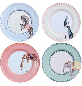 Yvonne Ellen London Yvonne Ellen Carnival Animal Set van 4 Borden Ø 26,5 cm - Diverse Dieren Prints - Bone China