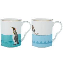 Yvonne Ellen London Yvonne Ellen Carnival Animal Set van 2 Mokken 375 ml - Pinguïn & Luipaard - Bone China