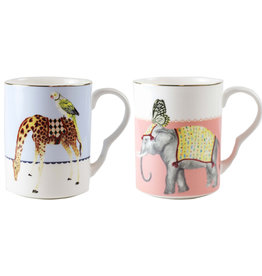 Yvonne Ellen London Yvonne Ellen Carnival Animal Set van 2 Mokken 375 ml - Giraf & Olifant - Bone China