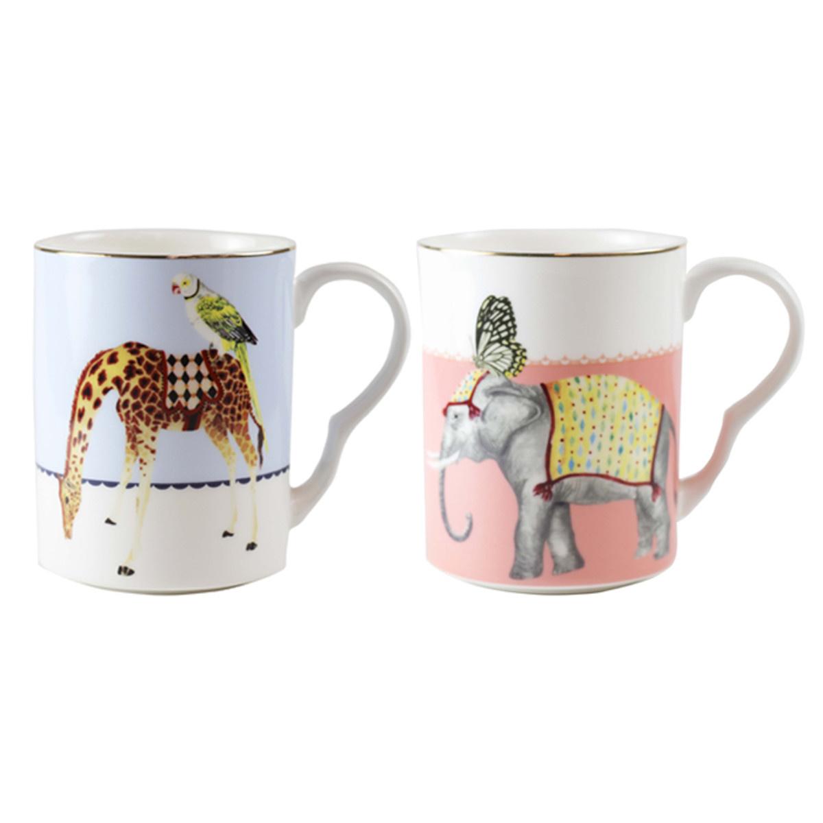 Yvonne Ellen London Yvonne Ellen London Carnival Animal Set of 2 Mugs 375 ml - Bone China - In Beautiful Giftbox