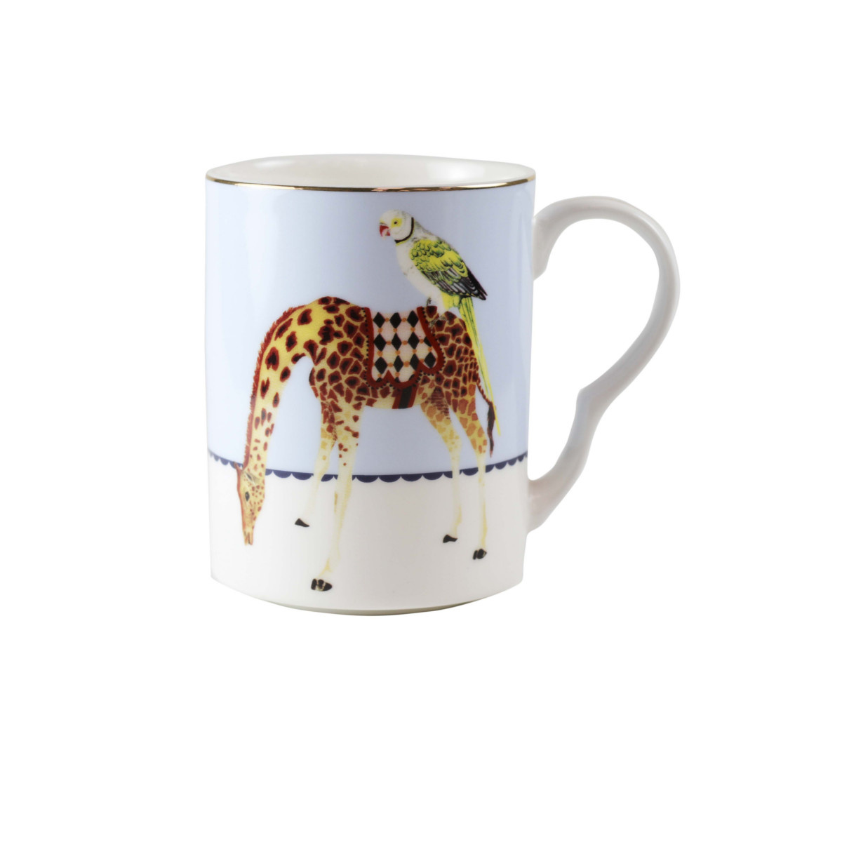 Yvonne Ellen London Yvonne Ellen Carnival Animal Set van 2 Mokken 375 ml - Giraf & Olifant Prints - Bone China Porselein - In Fraaie Geschenkdoos