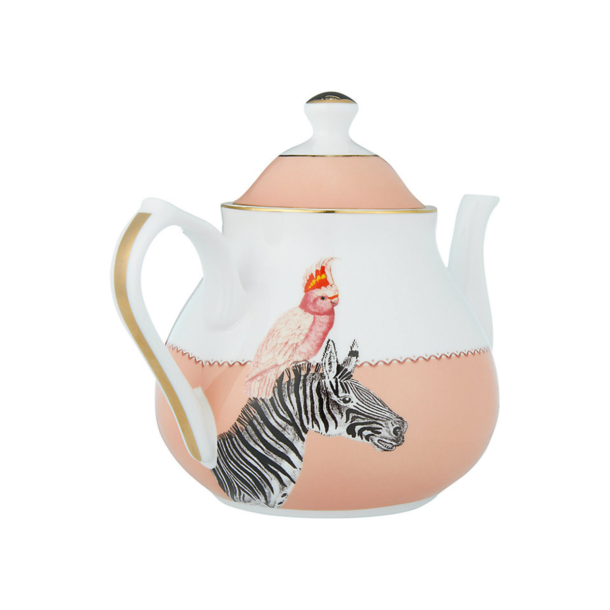 Yvonne Ellen London Yvonne Ellen - Carnival Animal Theepot 1,6 Liter - Zebra Print - Bone China Porselein - In Fraaie Geschenkdoos