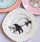 Yvonne Ellen London Yvonne Ellen Carnival Animal Set van 4 Borden Ø 16 cm - Diverse Dieren Prints - Bone China Porselein - In Fraaie Geschenkdoos