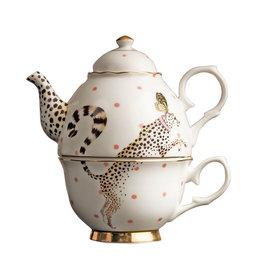 Yvonne Ellen London Yvonne Ellen - Carnival Animal  - 'Tea for One' Theepot 900 ml - Cheetah - Bone China