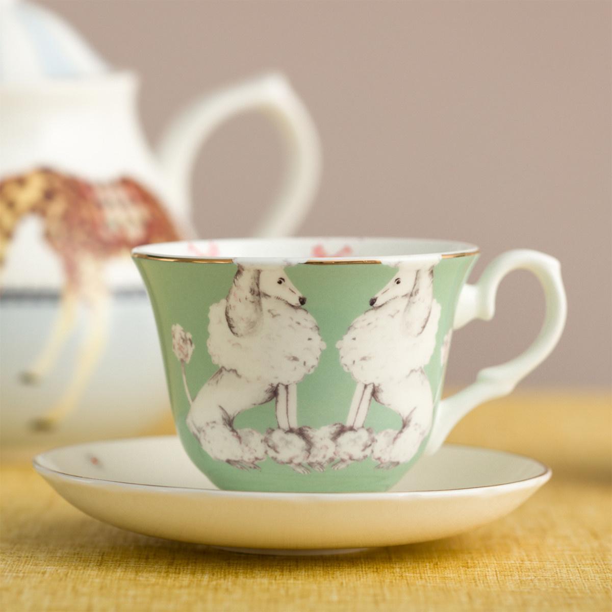 Yvonne Ellen London Yvonne Ellen Carnival Animal 2-er Set Tassen mit Untertassen - Pudel & Dachshund - Bone China Porzellan - In schöner Geschenkbox