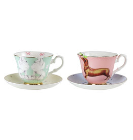Yvonne Ellen London Yvonne Ellen Carnival Animal 2-er Set Tassen mit Untertassen - Pudel & Dachshund - Bone China