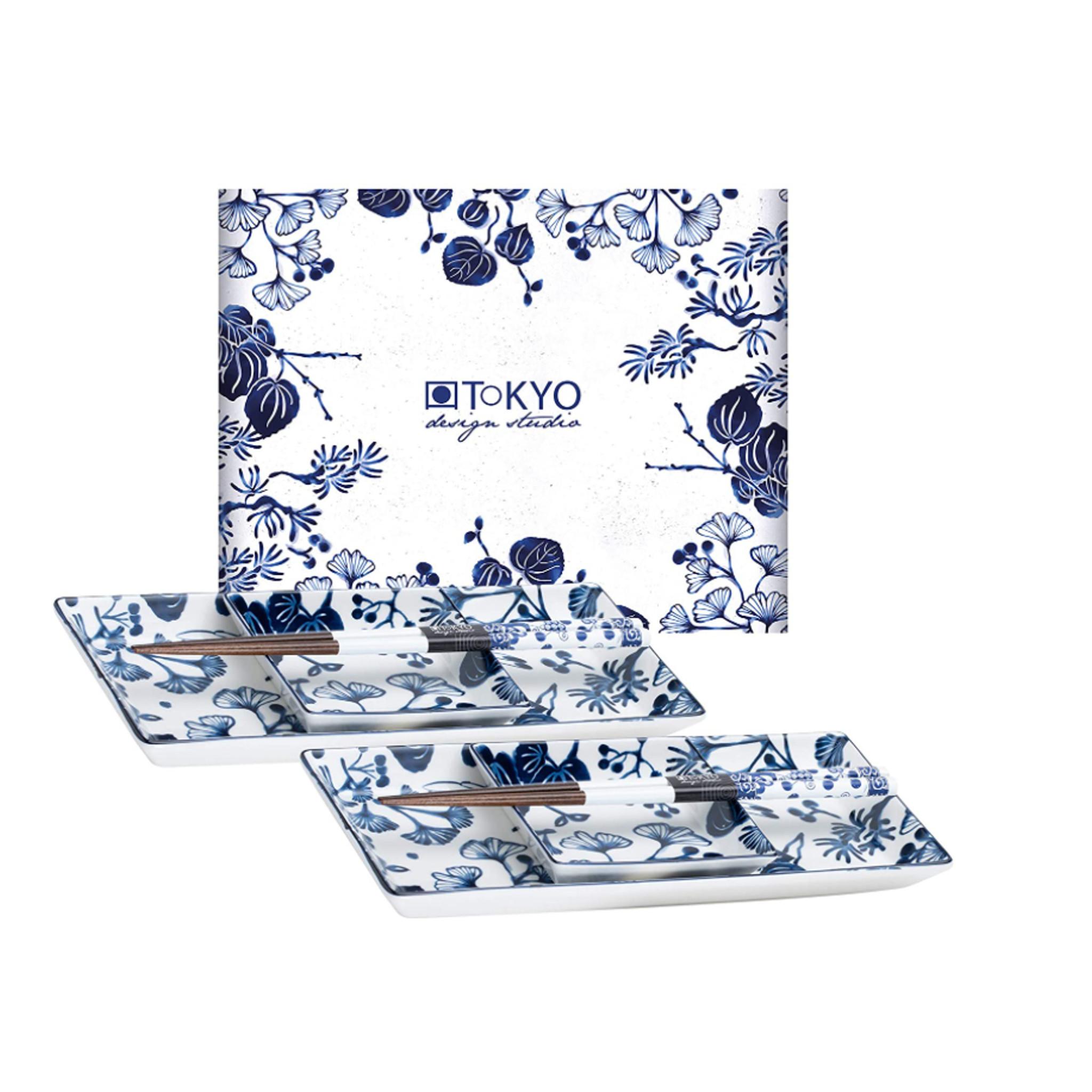 Tokyo Design Studio Tokyo Design Studio | Flora Japonica | 6-teiliges Sushi Geschirr Set | für 2 Personen